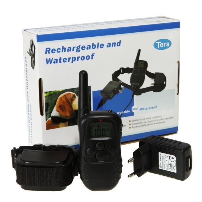 Tera® collier de dressage rechargeable étanche avec fonction de vibration sonore choc électrique pour entraîner chien