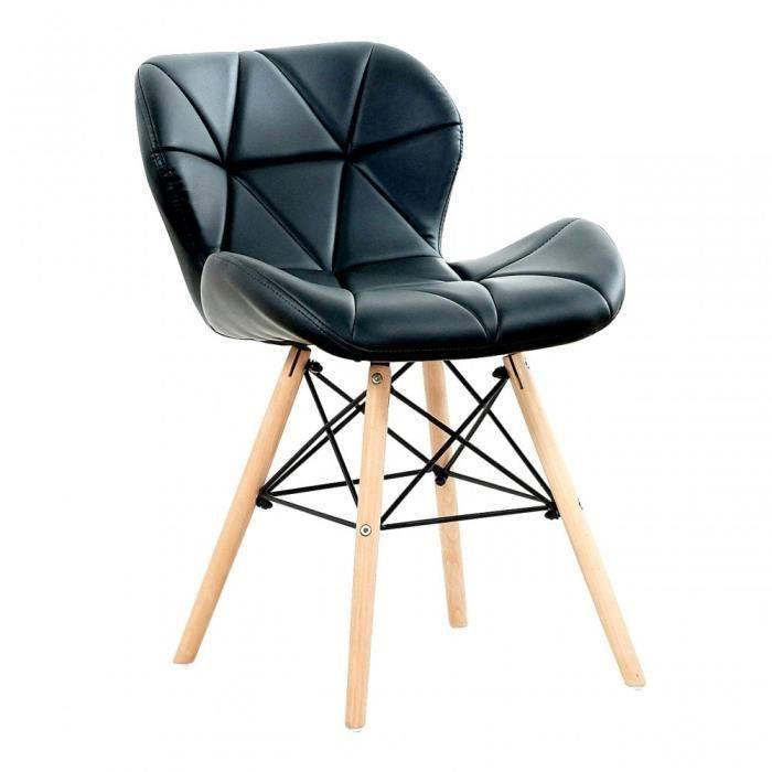 CECILIA EIFFEL - Chaise design en Simili Cuir Noire - Inspiration Scandinave - Salle à Manger, Salon, Bureau ou Cuisine