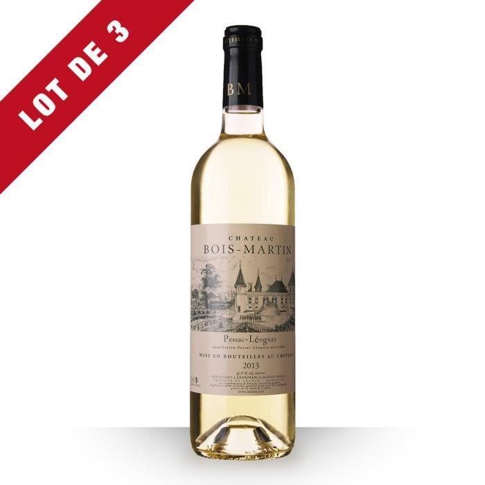 3X Château Bois-Martin 2013 Blanc 75cl AOC Pessac-Léognan - Vin Blanc