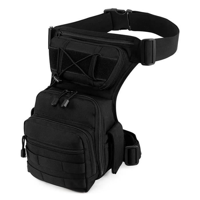 Black -Sac de jambe pour hommes, ceinture utilitaire, tactique militaire, randonnée, hanche, moto, Sport en plein air, poitrine Moll
