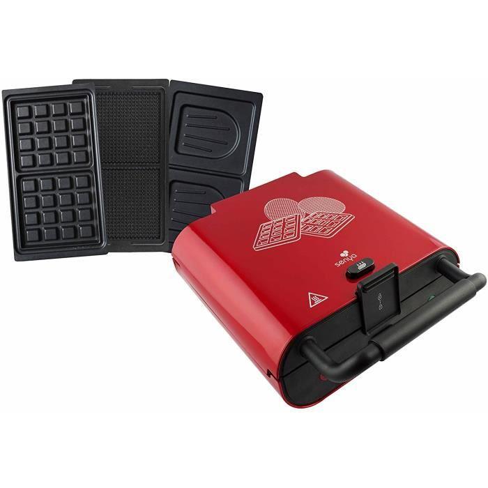 Senya gaufrier gaufres gaufrettes et croque-monsieur Multi Waffles, appareil à croque-monsieur 3 plaques interchangeables, rouge mét