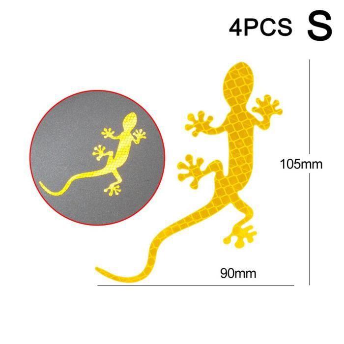 Accessoire vélo,Bandes réfléchissantes de voiture Gecko forme avertissement bande réflecteur autocollant - Type yellow S 4pcs #C