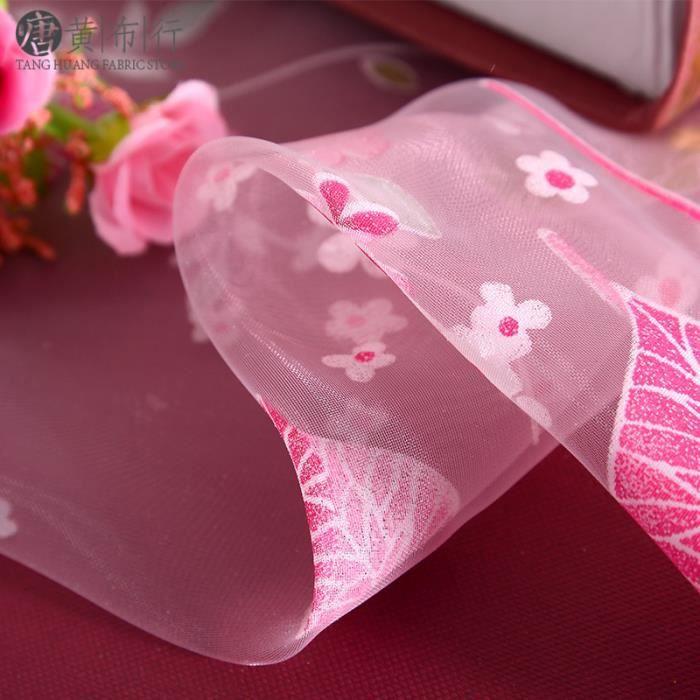 Laisser l'impression rideau Tulle pour salon chambre enfants chambre fenêtre dépistage cuisine rideau transparent pink W100cm*H200cm