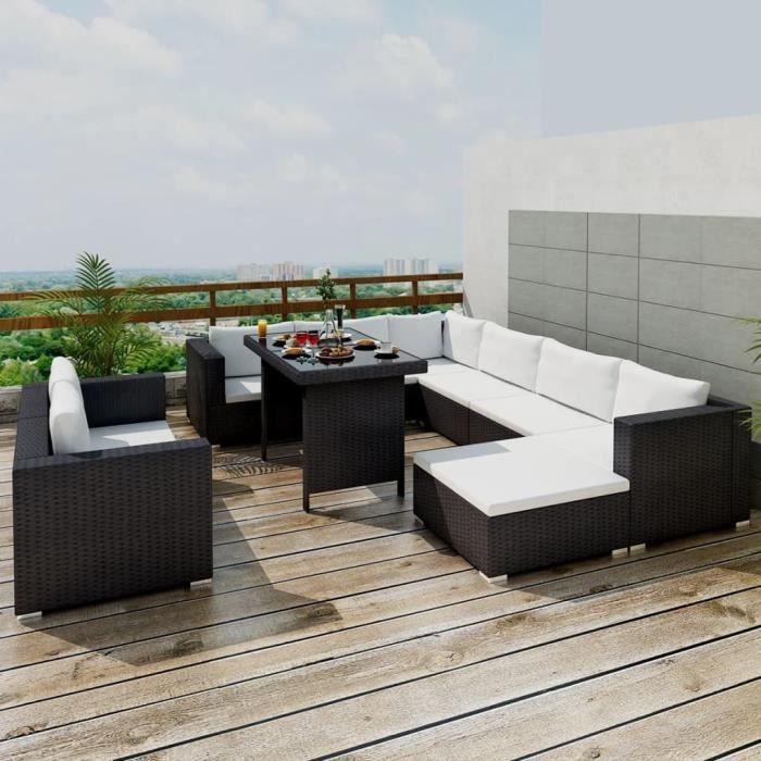 Salon de jardin 10 pcs - Ensemble repas de jardin Mobilier de jardin avec coussins Résine tressée - Noir