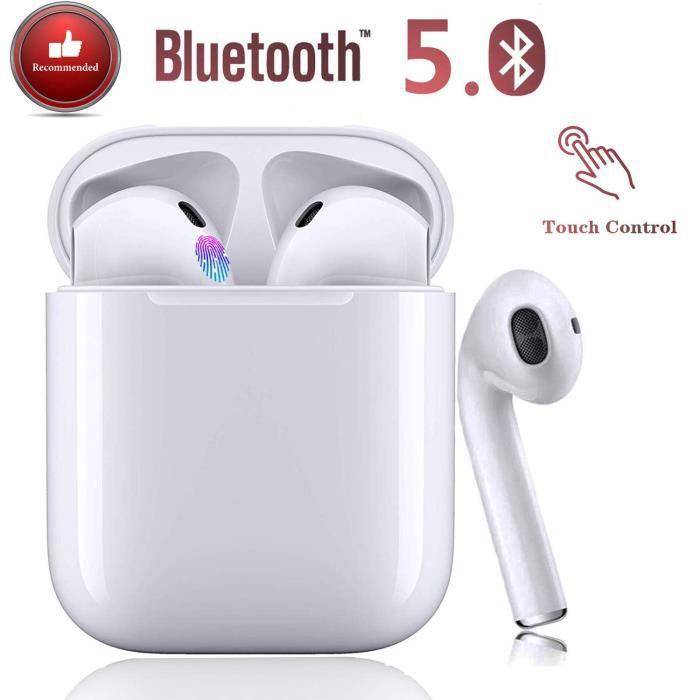 Écouteurs Bluetooth V5.0, Casque sans Fil Touch réduction de Bruit 3D IPX7 écouteurs stéréo étanches Microphone intégré et étui de C
