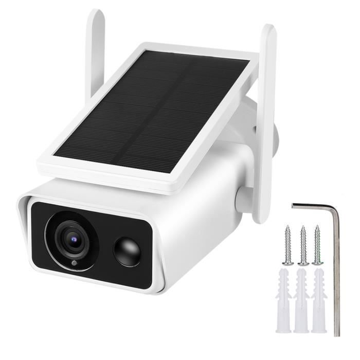Système de moniteur de caméra de surveillance, 1080P HD WiFi Bullet Camera Panneau solaire extérieur étanche PIR Intercom