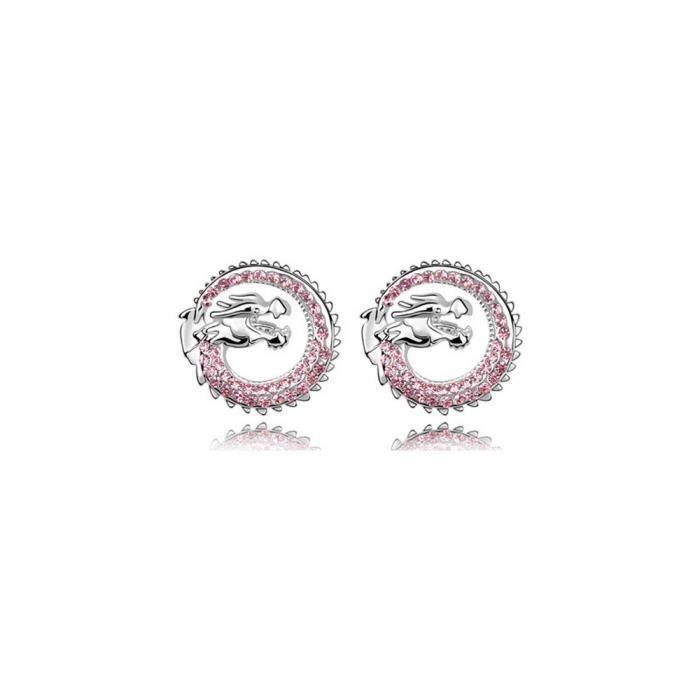 Boucles d'oreilles Dragon ornées de Cristal Rose de Swarovski et Plaqué Rhodium