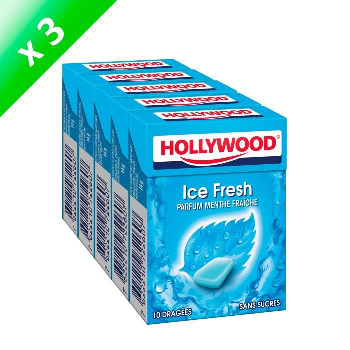 Hollywood IceFresh chewing-gum sans sucres 70g - LOT DE 3