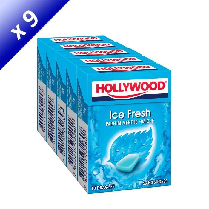 [LOT DE 9] Hollywood IceFresh chewing-gum sans sucres 70g
