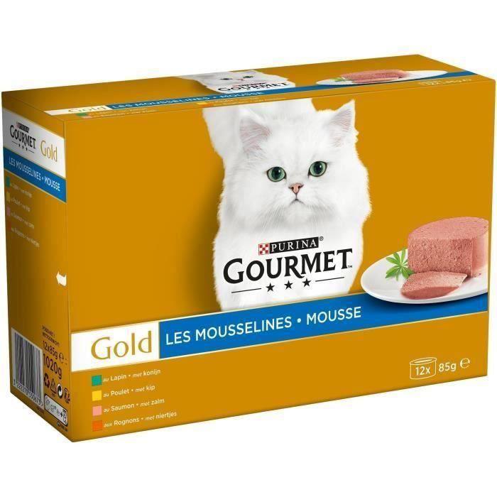 [LOT DE 2] GOURMET Gold Coffret Les mousselines - Pour chat adulte - 12x85 g