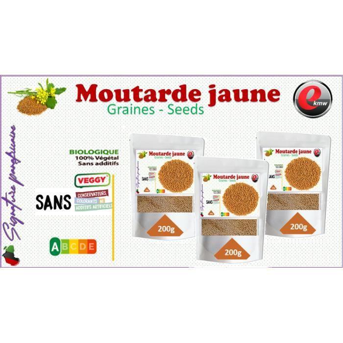 Graine De Moutarde Jaune - Graines De Moutardes Blanche - sélection panafricaine - 3x200g