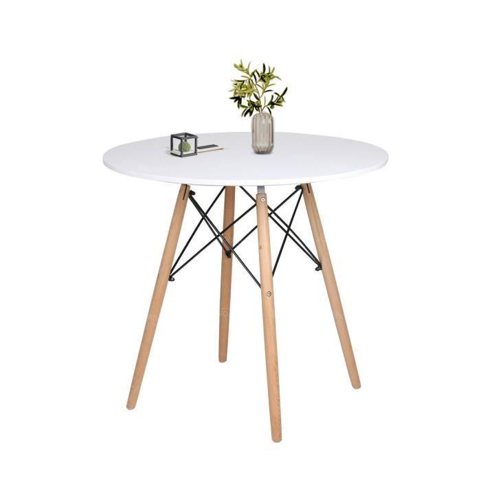 Table de Salle à Manger Scandinave Design Blanc Ronde 80x75cm