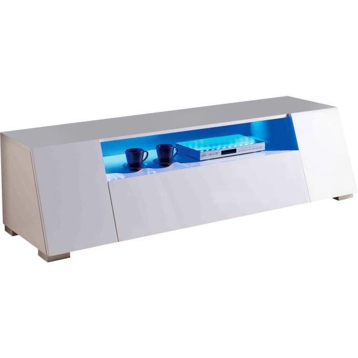 Meuble TV avec Led -Chlora-- 160 x 52 x 43,5 cm - MDF