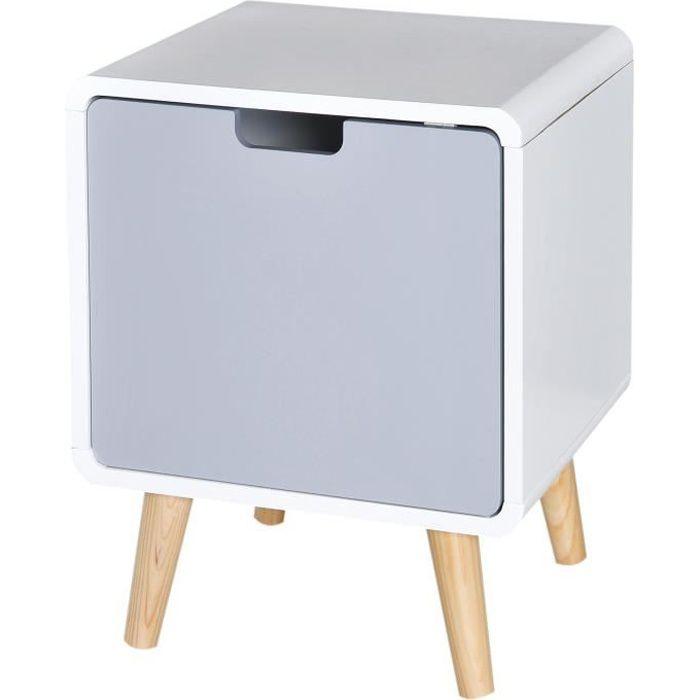 Chevet table de nuit design scandinave 40L x 38l x 50H cm placard bois massif pin MDF blanc bleu gris