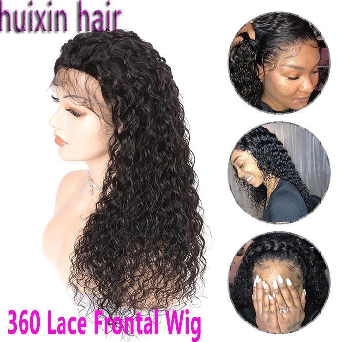 360 Lace Frontal Wig Perruques Cheveux Humains bouclés Cheveux De Bébé Remy Brésilien 12 Pouces