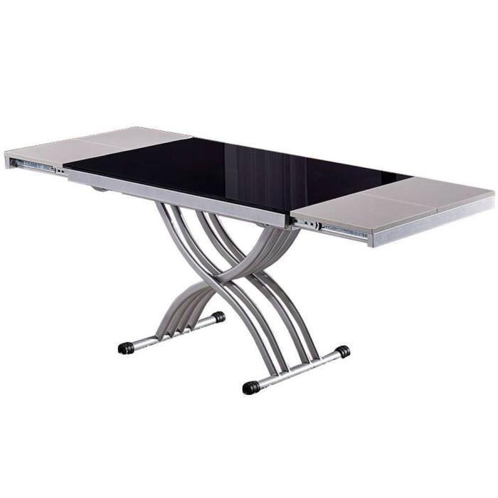 Table basse NEWFORM relevable extensible, plateau en verre noir noir verre trempé Inside75
