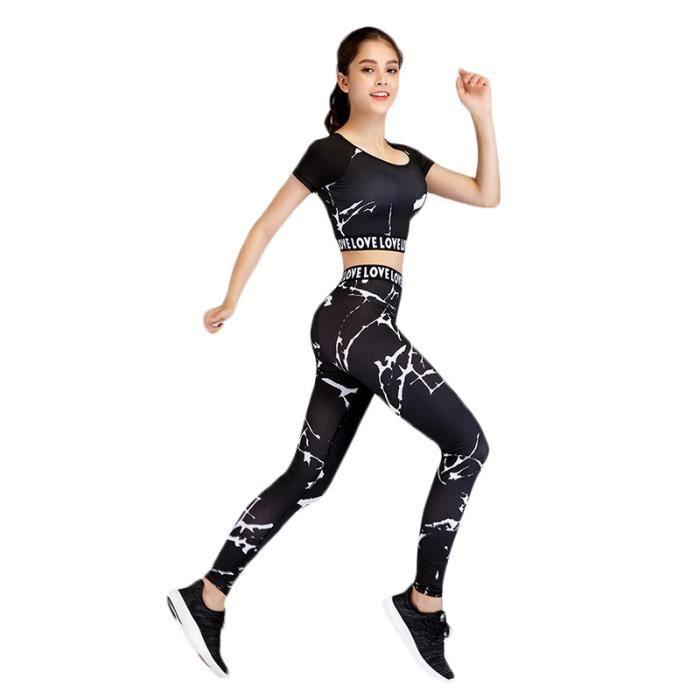Ensemble de Vêtements de Sport Femme 2 Pieces T-shirt Court+Legging