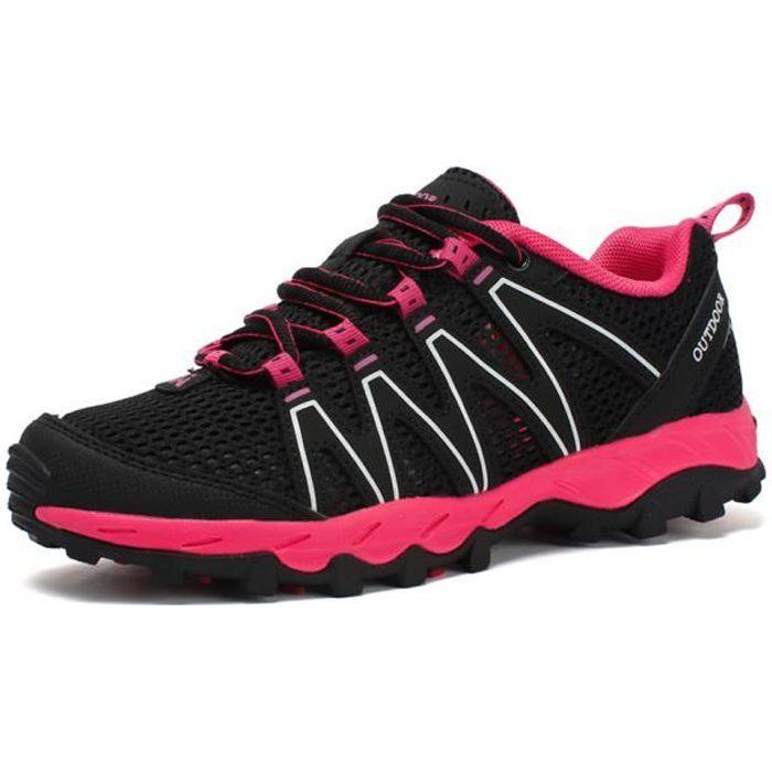 Chaussures de Randonnée Femme Mode Alpinisme Marche Noir