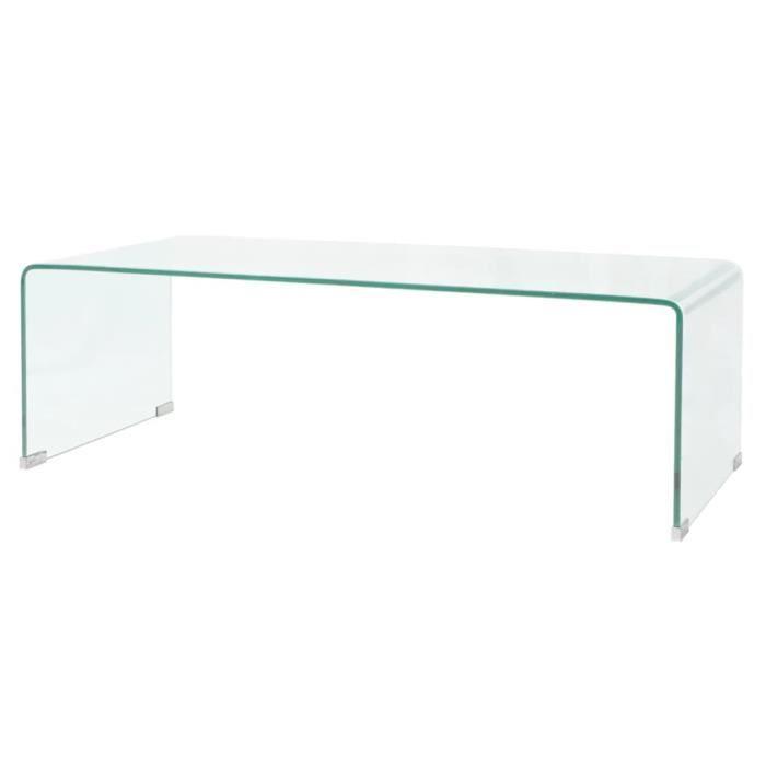Table basse design scandinave salon contemporain 100 x 48 x 33 cm Verre trempé Transparent