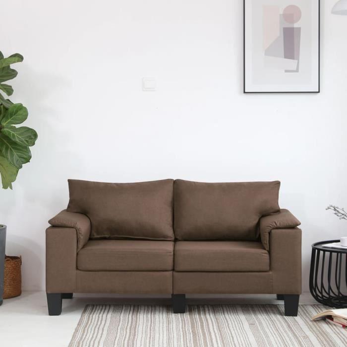 Canapé à 2 places Style élégant Marron Tissu