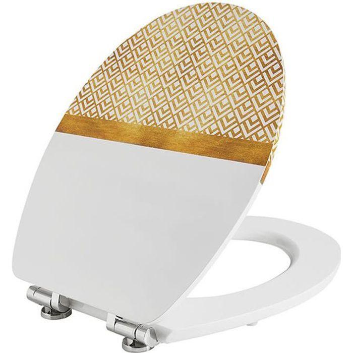 Abattant wc diplomat déco blanc - Dim : 37 X 48 cm