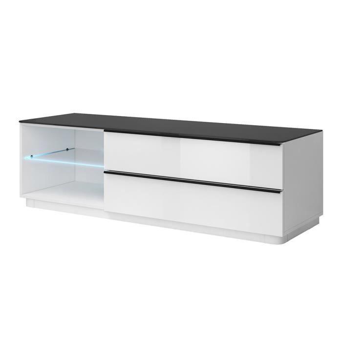 Meuble TV 160cm design TONGA. Coloris blanc et noir finition brillante + LED. Style design. 52 Blanc