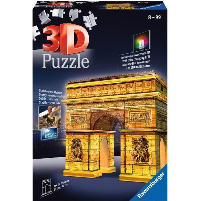 RAVENSBURGER Puzzle 3D Buildings Illuminés Arc de Triomphe Night Edition 216 pièces
