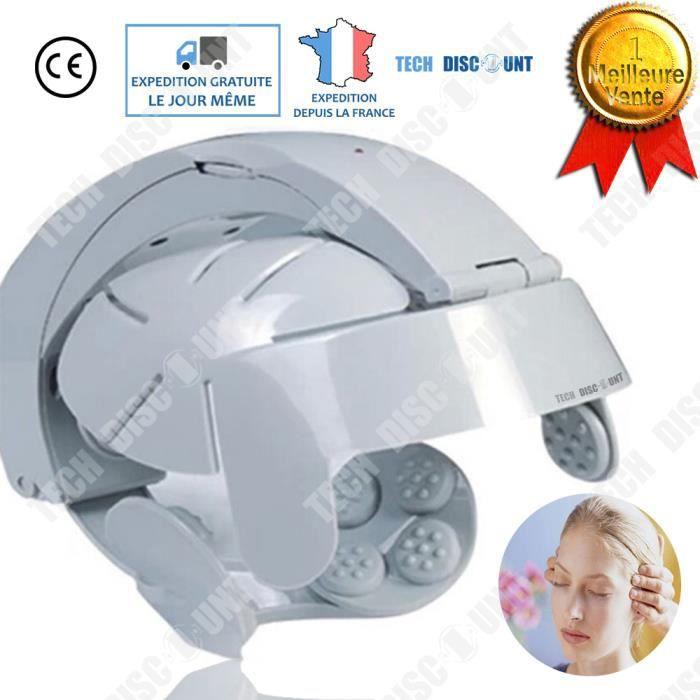 casque de massage tête électrique cuir chevelu crânien cheveux massant 8 vitesses fatigue stress cou détente multifonction bien être
