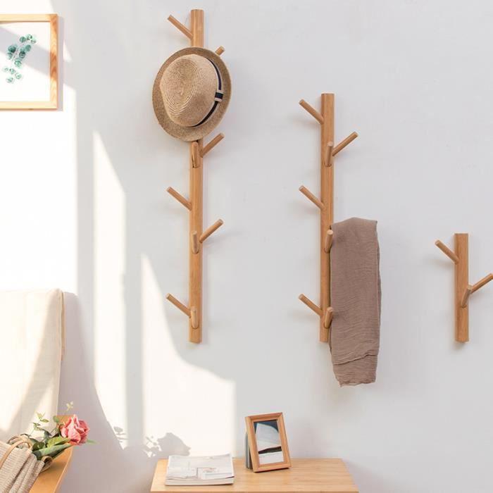 Porte Manteau Mural en Bois de Bambou Forme Arbre 8 Crochets 98x21.5x7cm
