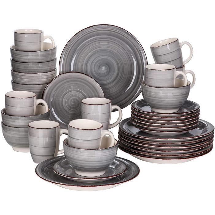vancasso, Série Bella, Service de Table en Porcelaine,Faïence Style Vintage Rustique,Motif Cercle Arbre-GY 32pcs