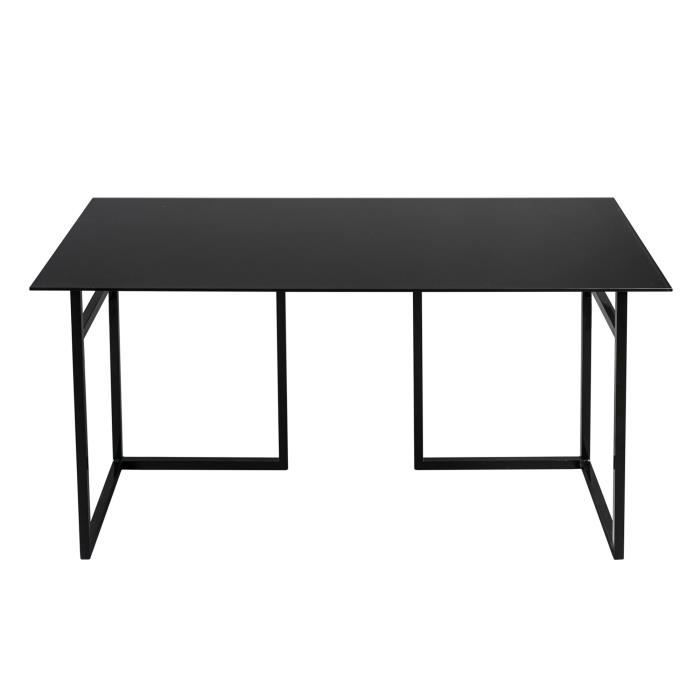 miro bureau 75x150cm avec plateau en verre noir et. Black Bedroom Furniture Sets. Home Design Ideas