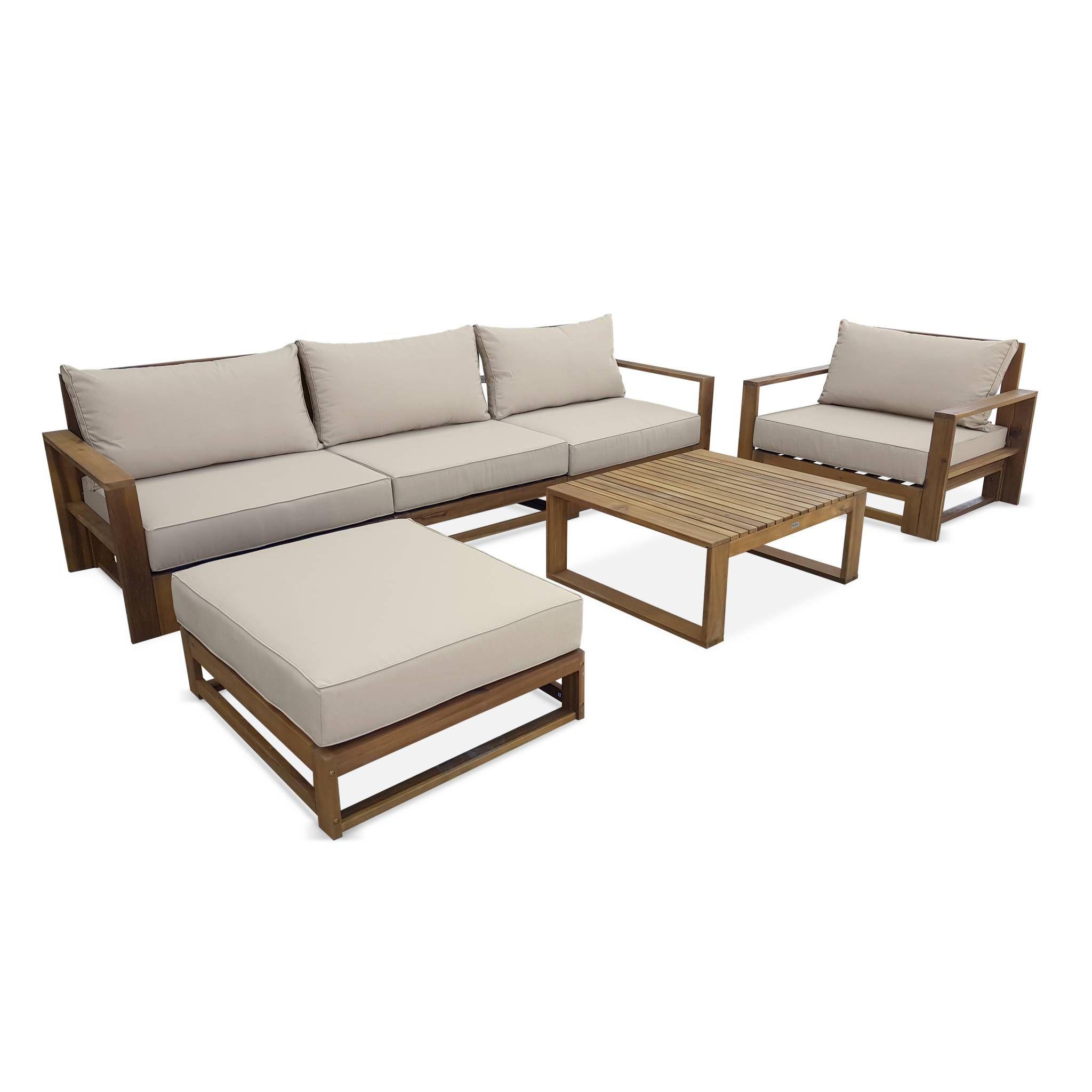 Salon de jardin en bois 5 places - Mendoza - Coussins beiges ...