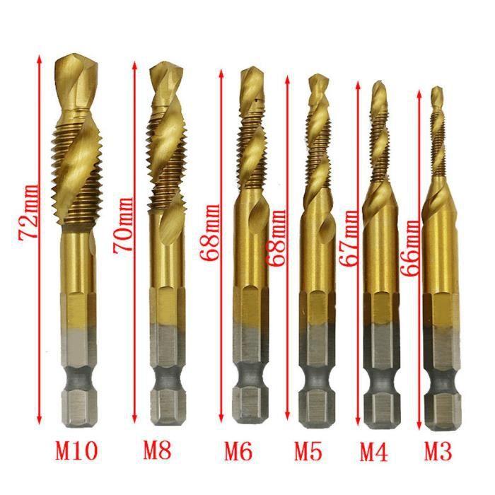 6pcs HSS Haute Vitesse Acier Revêtement Titane forets Outils Set 3//4//5//6//6.5//8mm