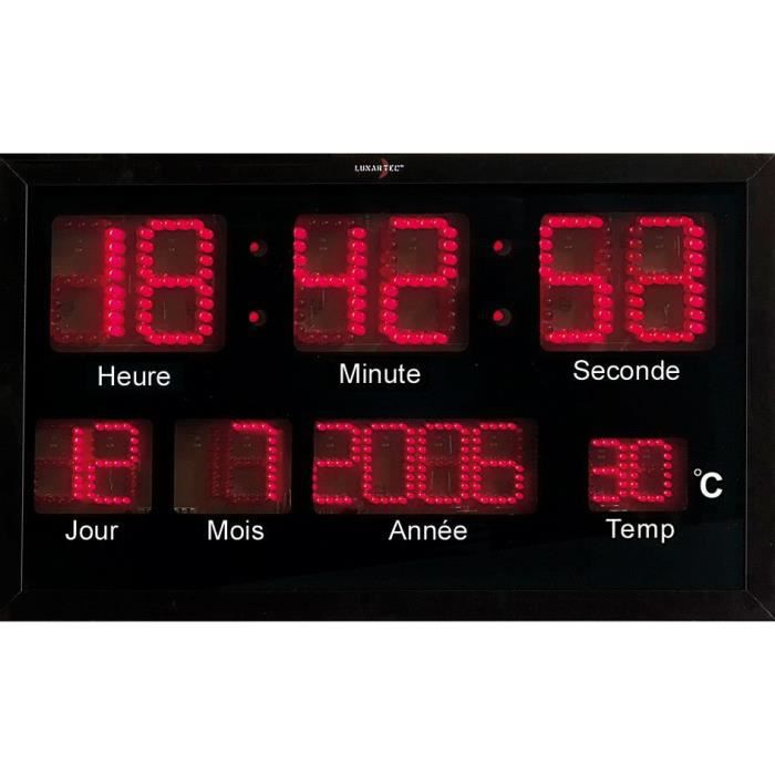 horloge murale radio pilot e led rouges achat vente horloge cdiscount. Black Bedroom Furniture Sets. Home Design Ideas