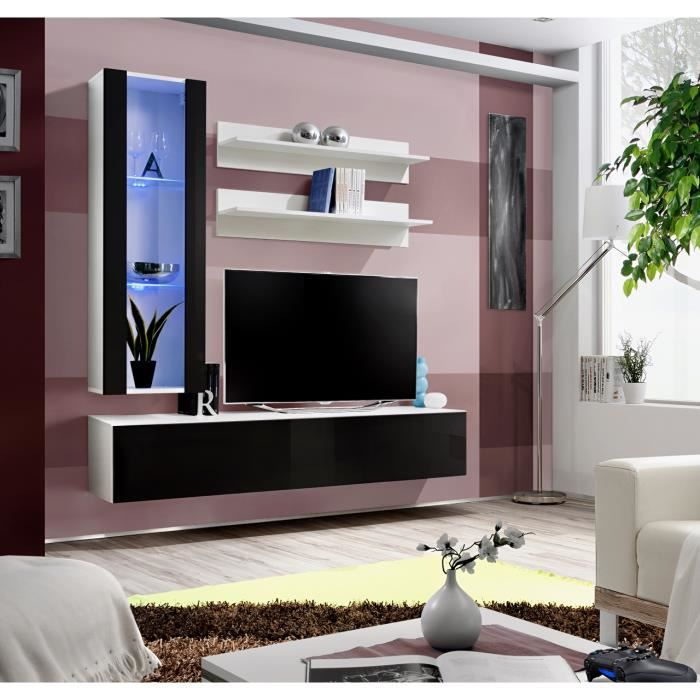 Price Factory Meuble Tv Fly H2 Design Coloris Blanc Et Noir
