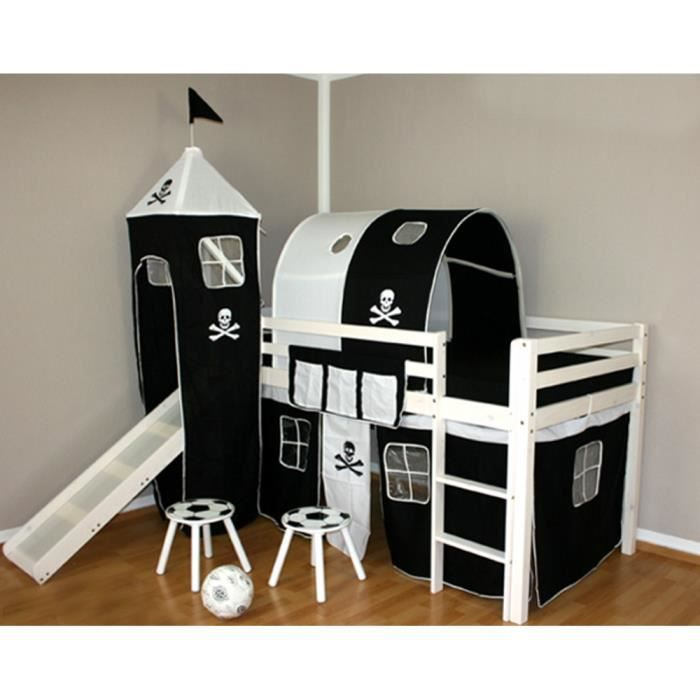 lit enfant toboggan avec tunnel et tour superpo moncornerdeco. Black Bedroom Furniture Sets. Home Design Ideas