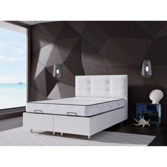 perl lit coffre 140x190 blanc matelas memoryfoam 25cm achat vente lit complet perl lit. Black Bedroom Furniture Sets. Home Design Ideas