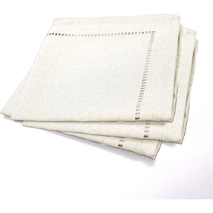 Set de 3 serviettes chambray l gance 40x40 cm naturel - Serviette de table blanche pas cher ...