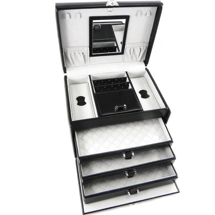 coffret bijoux cuir bella dona noir achat vente. Black Bedroom Furniture Sets. Home Design Ideas