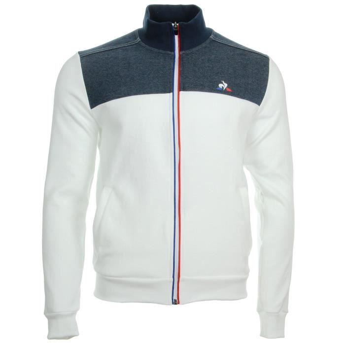 Veste Le Coq Sportif Tri Fz Sweat Bleu, blanc,