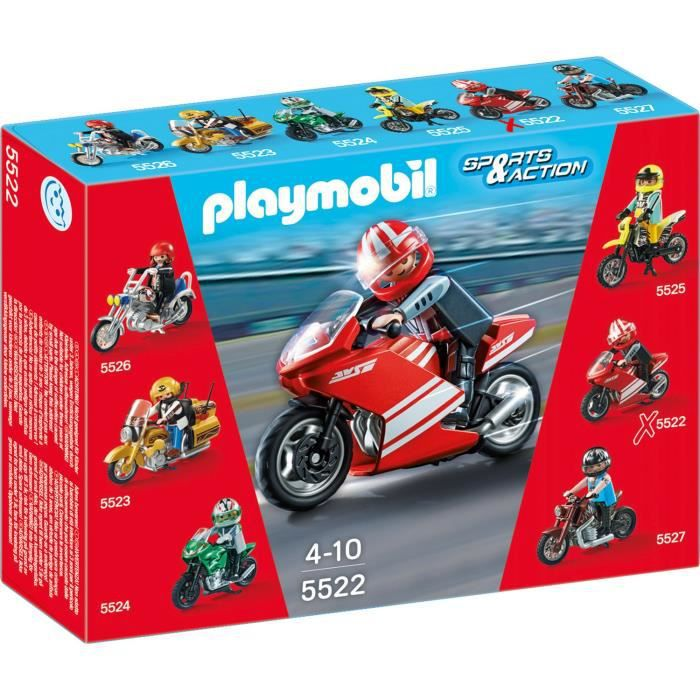 playmobil 5522 moto de course rouge achat vente univers miniature cdiscount. Black Bedroom Furniture Sets. Home Design Ideas