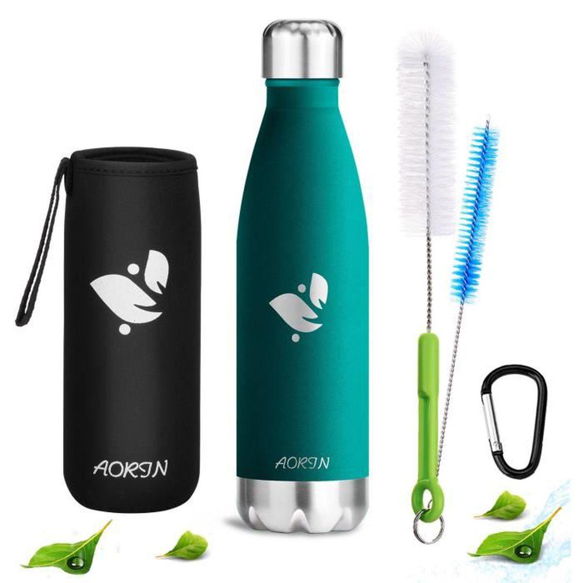 Ekna Bouteille deau 2,2 // 1 litre Gourde id/éale pour les besoins en eau quotidiens pour la vie quotidienne le fitness ou les voyages Sans BPA avec indicateur de niveau