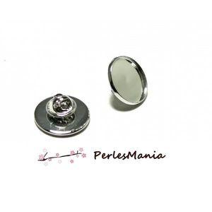 perlesmania.com Pax 10 Supports Boutons de Manchettes 12mm Argent Vif S117125
