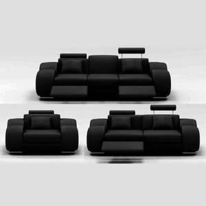 CANAPÉ - SOFA - DIVAN Ensemble cuir relax OSLO 3+2+1 places noir