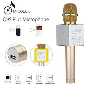 HAUT-PARLEUR - MICRO Microgeek Q9S+ Microphone Doré Sans fil Bluetooth