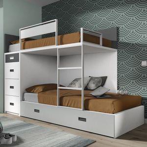 LITS SUPERPOSÉS Lit superposé avec lit d'appoint et 4 tiroirs - 16