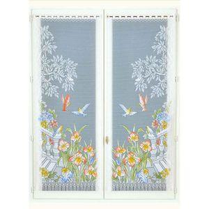 160x60 cm Peint HomeMaison Paire de Vitrages Frang/és en Dentelle Polyester