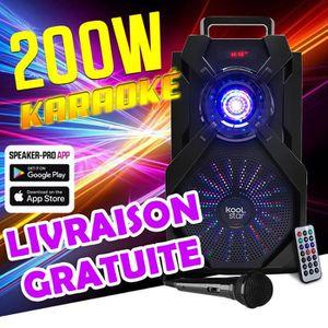 ENCEINTE ET RETOUR Enceinte Karaoke batterie - LED - Compatible APP -