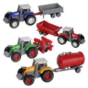 TRACTEUR - CHANTIER 4pcs jouet de voiture tracteur de ferme véhicules