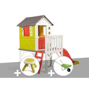 MAISONNETTE EXTÉRIEURE Cabane enfant Pilotis - Smoby + Tabouret + Brouett